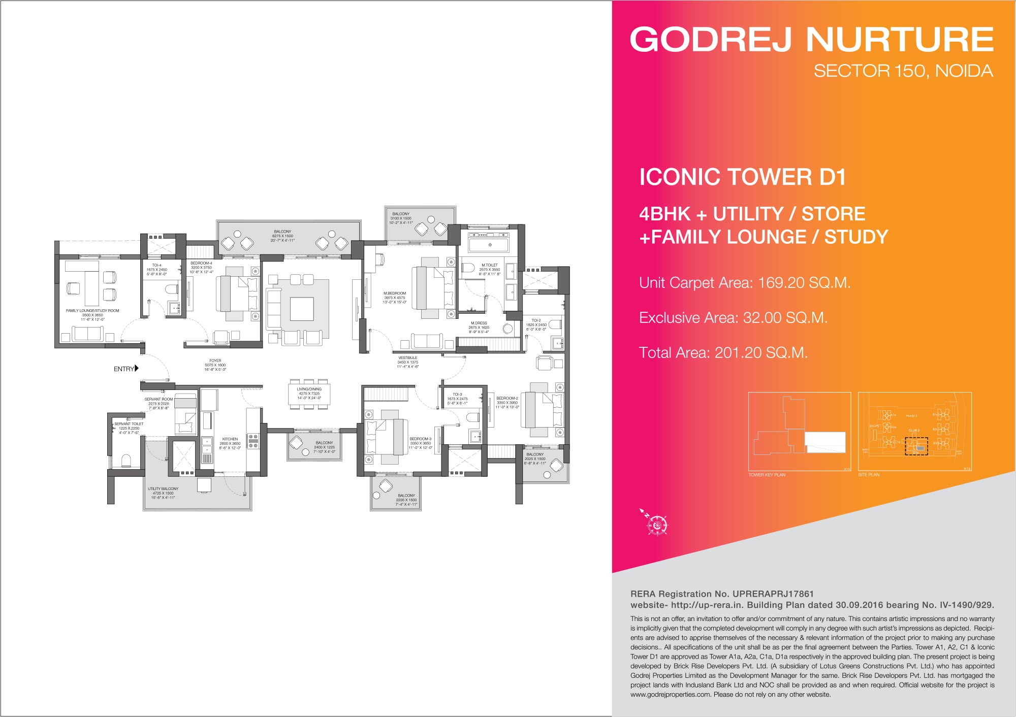4 BHK + Utility/Store + Family Lounge - Iconic Tower D1