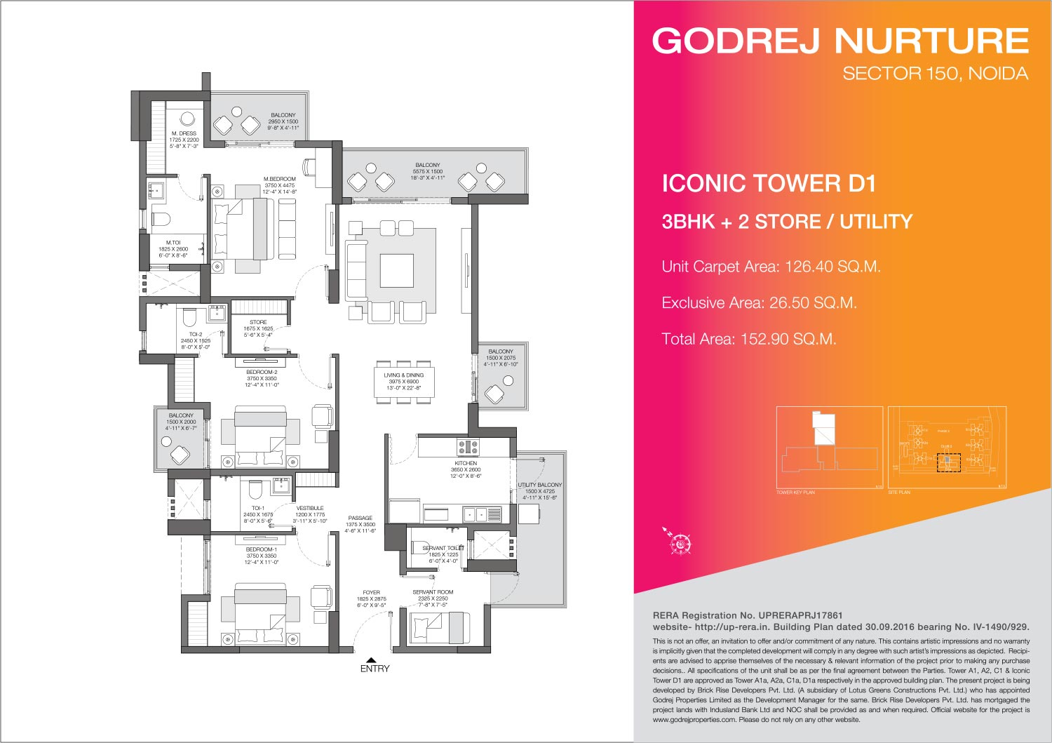 3 BHK + 2 Store/Utility - Iconic Tower D1