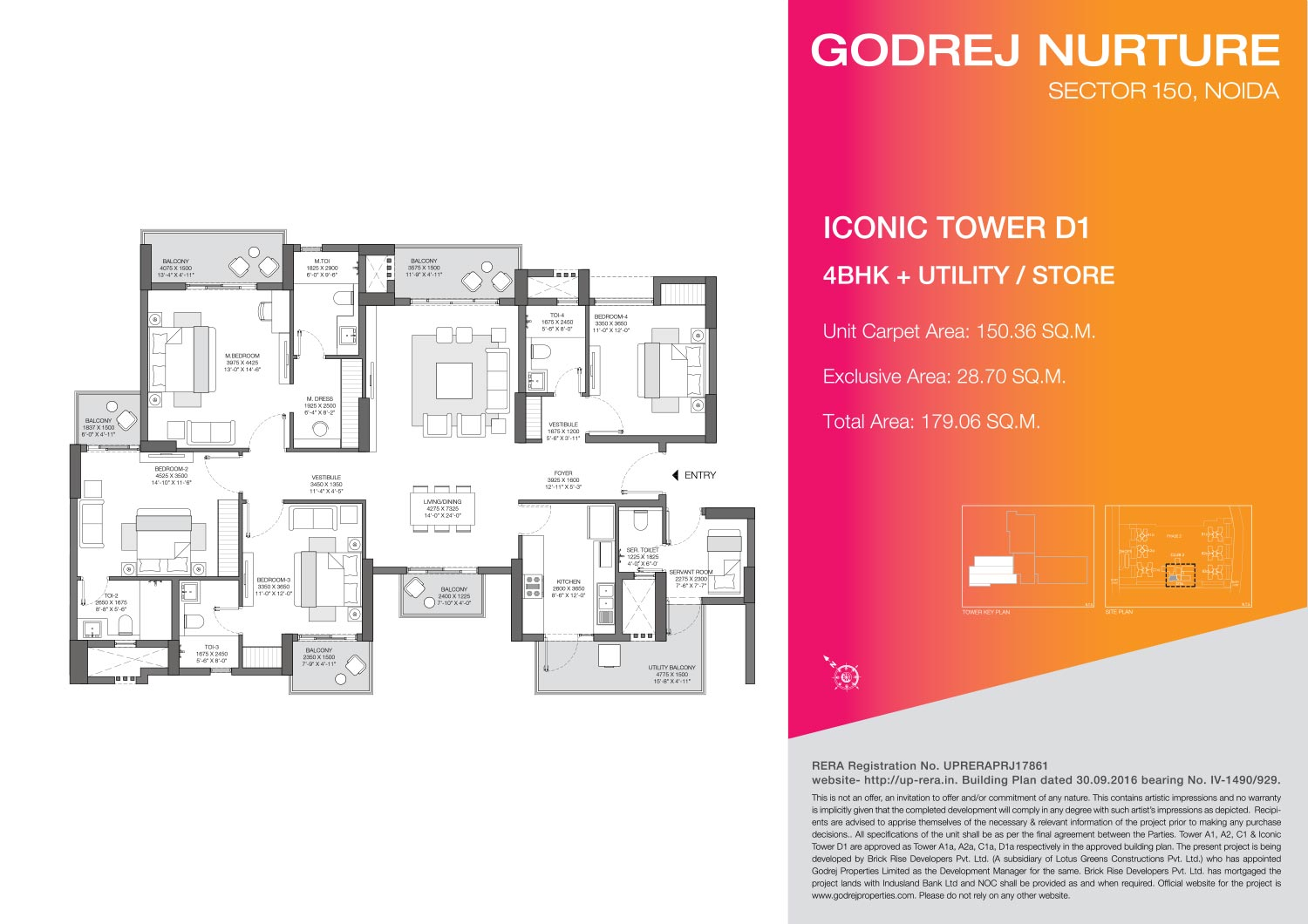 4 BHK + Utility/Store - Iconic Tower D1